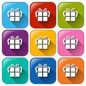 Botones de regalo — Vector de stock