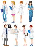 Doctors and nurses — Stock Vector