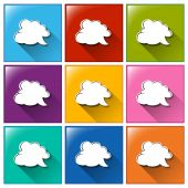 Icons with empty cloud templates — Stock Vector