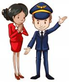 A simple drawing of an air hostess and a pilot — Stock Vector