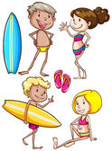 Sketches of the kids enjoying at the beach — Stock Vector
