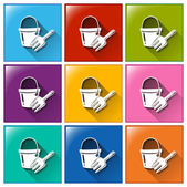 Buttons with a pail and a fork — Stock Vector