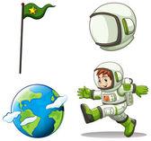 A happy astronaut — Stock Vector