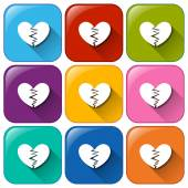 Icons with broken hearts — Stock Vector