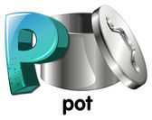 A letter P for pot — Vettoriale Stock