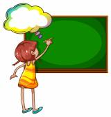 A girl writing at the blackboard — Stock Vector