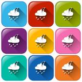 Rounded buttons with the different weather forecasts — Stock Vector