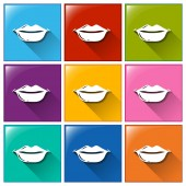 Icons with lips — Stock Vector