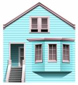 A blue concrete house with a stair — Stock Vector