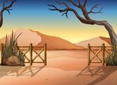 A desert with a fence — Vecteur