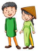 Two Asian people — Vector de stock