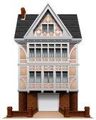 A big concrete house with an attached garage — Vecteur