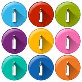 Rounded buttons with bottles — Cтоковый вектор