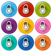 Circle buttons with padlocks — Stock Vector
