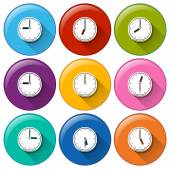 Buttons with clocks — Stock Vector