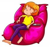 A sketch of a lazy girl at the couch — Stock Vector