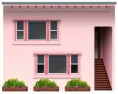 A big pink house — Stock Vector