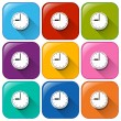 Rounded buttons showing the wallclock — Stockvektor  #56462411