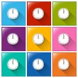 Square buttons with clocks — Stockvector  #56462491