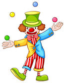 A coloured sketch of a clown juggling — Stock Vector
