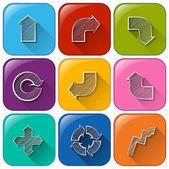 具有不同的箭头的按钮 — 图库矢量图片