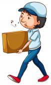 A drawing of a postman with a box — Stock Vector