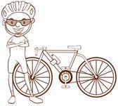 A plain sketch of a cyclist — 图库矢量图片