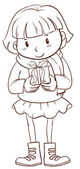 A plain sketch of a girl holding a christmas gift — Stock Vector