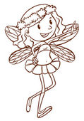 A simple sketch of a cute fairy — Stock Vector