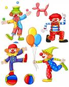 A simple coloured drawing of the four clowns — Stock Vector