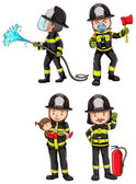 A simple sketch of firemen — Stock Vector
