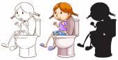 A girl above the toilet bowl — Stock Vector