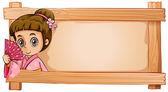 A frame with a girl — Stock Vector