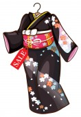 A floral Asian dress — Stock Vector
