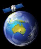 Satellite orbiting Earth — Stock Vector
