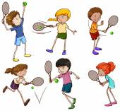 Male and female tennis players — Stock Vector