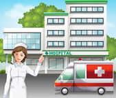 A nurse in front of the hospital — Stock Vector