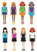 Templates of faceless girls — Stock Vector