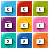 Shopping bag buttons — Stock Vector