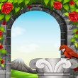 A stonewall with roses and a bird — Stock Vector #58754473