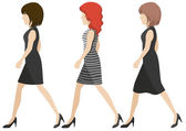 Faceless girls walking — Stock Vector