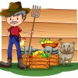 A farmer in front of the empty signboard — Stock Vector #58926353