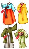 Asian outfits — Stock Vector