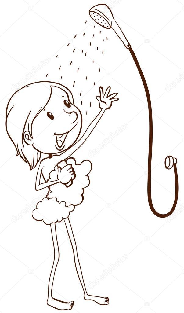 Une jeune fille prendre une douche image vectorielle - Douche coloriage ...