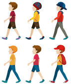 Faceless boys walking — Stock Vector