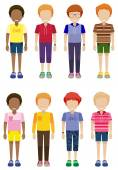Eight faceless kids standing — Stock Vector