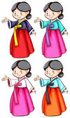 Females wearing the Asian costumes — Stock Vector