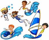 Kids enjoying the different watersports — Stock Vector