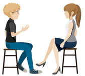 A girl and a boy talking without faces — Stock Vector