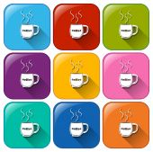 Colourful rounded buttons with cups of coffee — Stock Vector